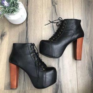 Jeffrey Campbell black leather lita platform 9.5